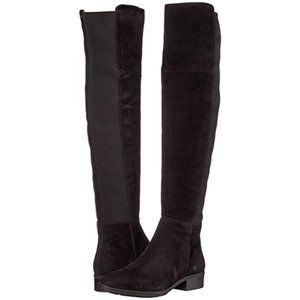 SAM EDELMAN Black Suede Leather Over The Knee Boot